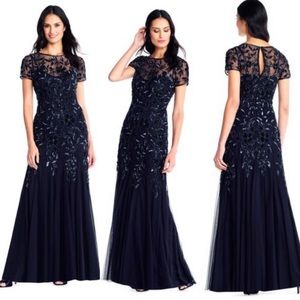 Adrianna Papell Long floral Beaded Godet Gown